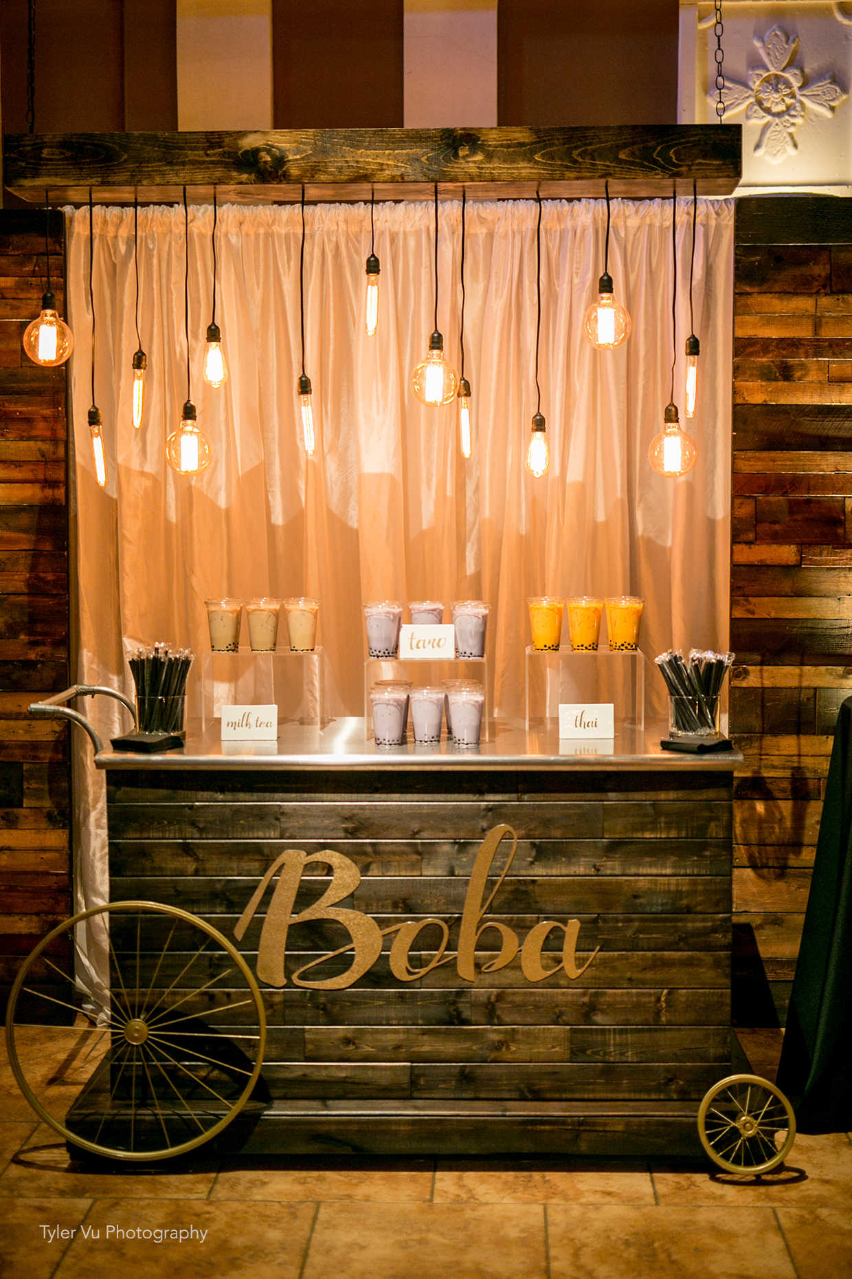 Amazing boba cart from Casa Real at Ruby Hill Winery (www.casarealevents.com). Photo by: Tyler Vu Photography.  Food and Design by: Casa Real at Ruby Hill Winery.
