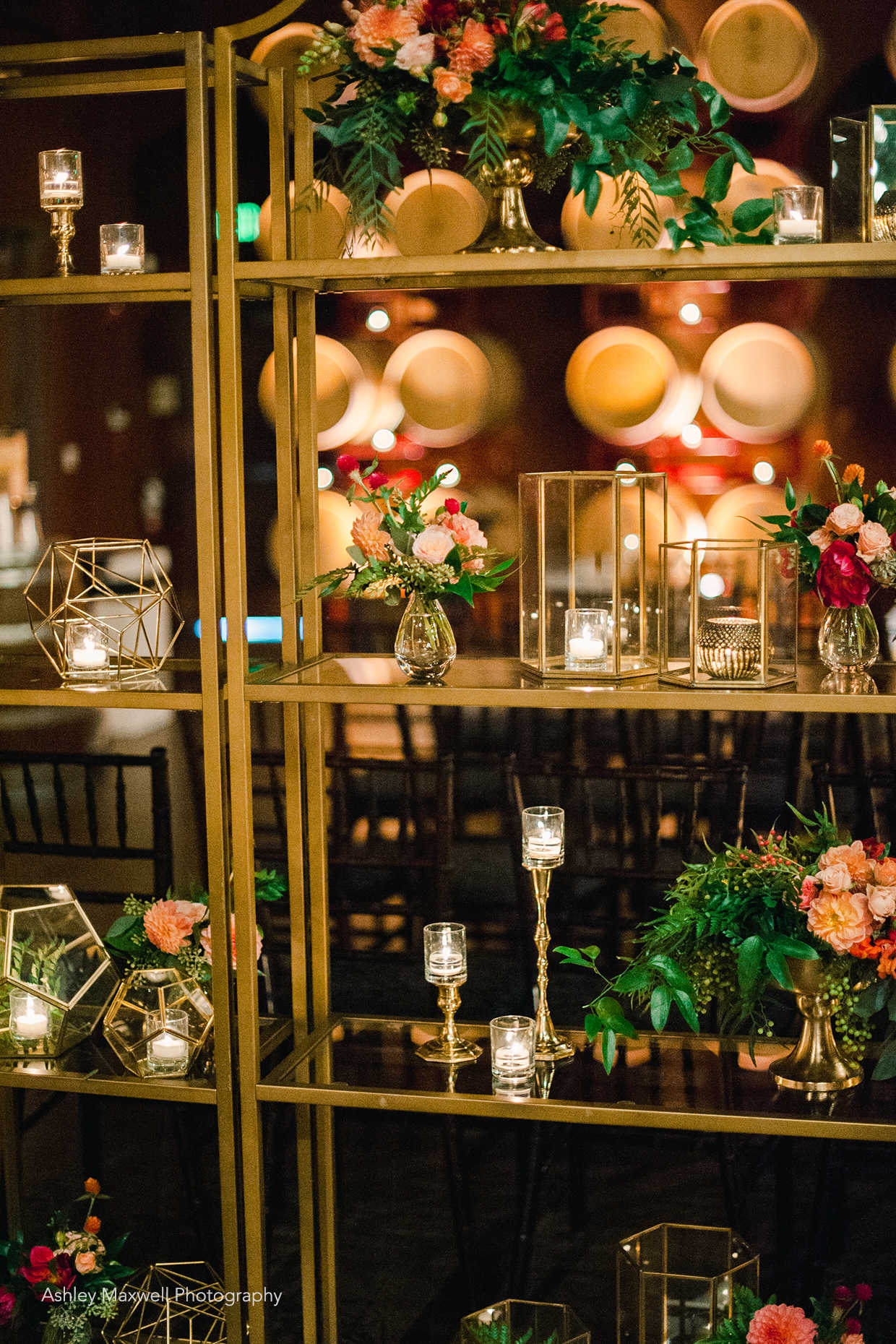 Gold shelves and geometric décor wedding design at Casa Real at Ruby Hill Winery (www.casarealevents.com).  Photo by Ashley Maxwell Photography; Florals, Rentals and Design: Asiel Design